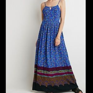 Forever 21 Blue Abstract Maxi Dress